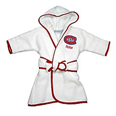 image of Designs by Chad and Jake NHL Montreal Canadiens Personalized Hooded Robe in White