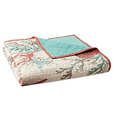 image of Madison Park Pebble Beach Oversized Cotton Quilted Throw Blanket in Coral