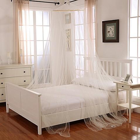 Bed Canopies Oasis Round Hoop Sheer Bed Canopy In Ecru