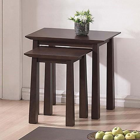 baxton studio havana nesting table set in brown bed bath