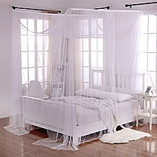 Image Of Crystal Sheer 4 Poster Bed Canopy In White