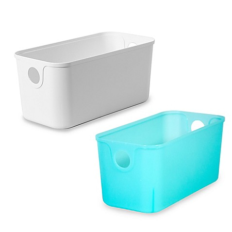 11 inch plastic quarter bin bed bath beyond - Plastic bathroom storage containers ...