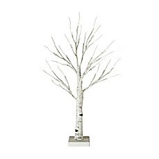 image of 2-Foot Hand Painted LED Birch Branch Light-Up Tree in White