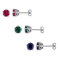 image of Laura Ashley® English Garden Sterling Silver Round Birthstone Stud Earrings