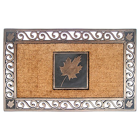 22 Inch X 34 Inch Maple Leaf Coir Door Mat In Copper Bed