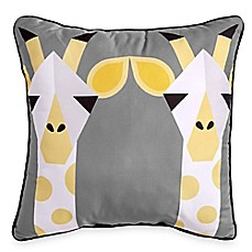 image of Scribble Giraffe 16-Inch Square Throw Pillow in Yellow