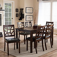 image of Baxton Studio 7-Piece Mozaika Dining Set in Black