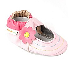 image of Momo Baby Rainbow Toes Leather Soft Sole Shoe in Pink