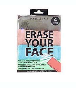 Erase Your Face Paños desmaquillantes para piel sensible, 4 pzas.