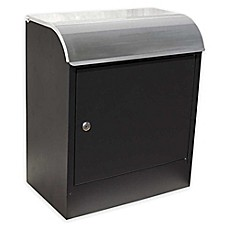 image of QualArc® Winfield Series Compton Locking Wall Mount Mailbox in Black/Stainless Steel