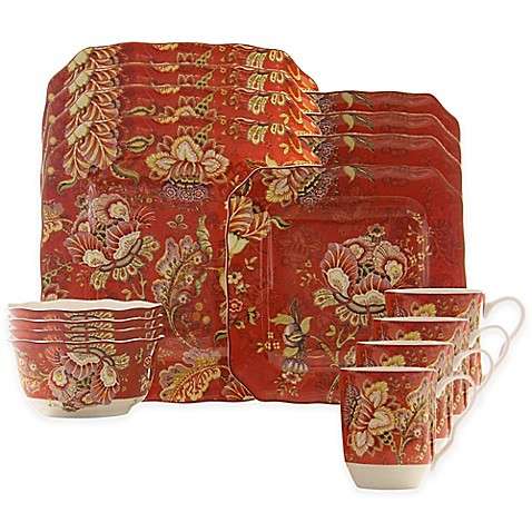 222 Fifth Gabrielle 16 Piece Dinnerware Set In Red Bed