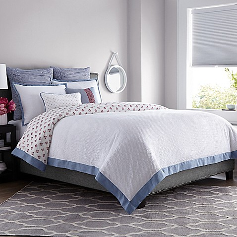 real simple® french riviera duvet cover in white - bed bath & beyond