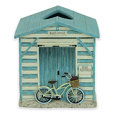 buy bacova beach cruiser boutique tissue box cover in blue ivory from bed bath beyond. Black Bedroom Furniture Sets. Home Design Ideas