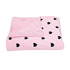 image of Love Hearts Printed Microplush Throw from Thro by Marlo Lorenz in Almond Blossom Black
