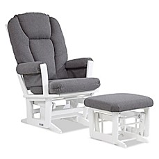 image of Dutailier® Modern Multi-Position Reclining Glider and Nursing Ottoman in White/Charcoal
