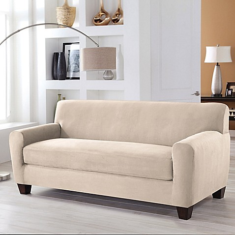 buy perfect fit stretch fit microsuede 2 piece box cushion sofa slipcover in ivory from bed. Black Bedroom Furniture Sets. Home Design Ideas