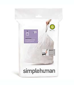 Paquete de 20 bolsas ajustables Simplehuman®, código G con capacidad para 30 litros en blanco