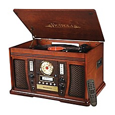 image of Victrola™ Aviator Wooden 7-in-1 Nostalgic Record Player with Bluetooth and Digital CD Encoding