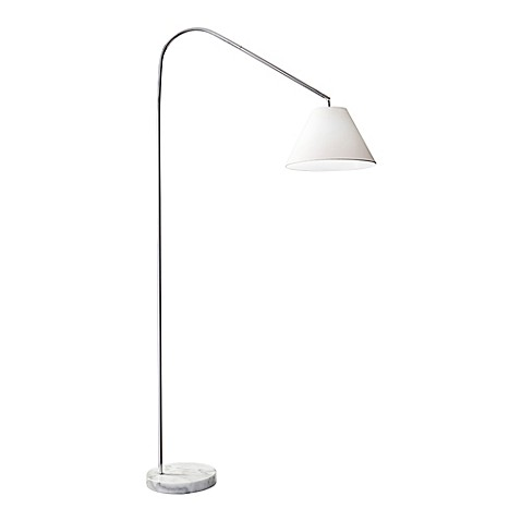 Adesso willa arc floor lamp in chrome with linen shade
