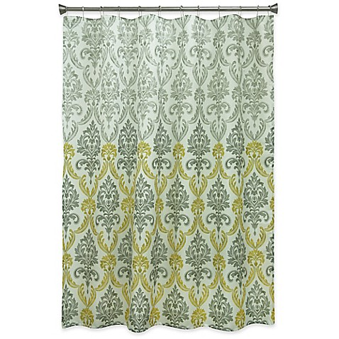 Buy Bacova Portico Damask Shower Curtain In Yellow Grey From Bed Bath Beyond