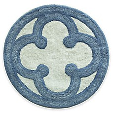 image of Bacova Merry May 26-Inch Round Bath Rug in Blue/Ivy