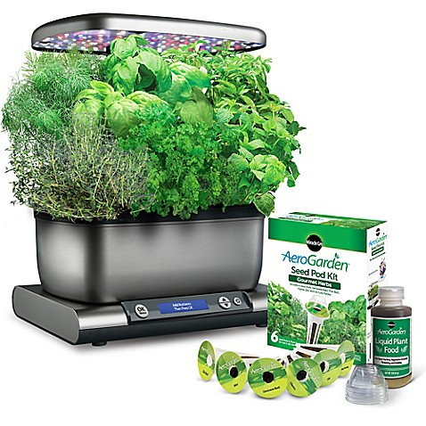 indoor herb garden kit miracle gro 174 aerogarden harvest plus with seed kit bed 28782