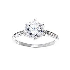 image of 18K White Gold-Plated Round Cubic Zirconia Ladies' Solitaire Ring