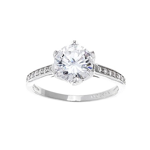 buy 18k white gold plated cubic zirconia size 6