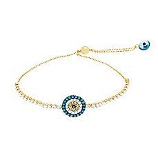 image of 18K Gold-Plated Sterling Silver Blue and White Cubic Zirconia-Accented Evil Eye Slide Bracelet