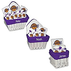 image of Designs by Chad and Jake NBA Personalized Los Angeles Lakers Gift Basket in White