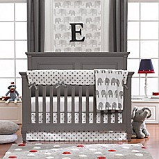 Image Of Liz And Roo Elephants 3 Piece Crib Bedding Set In Grey