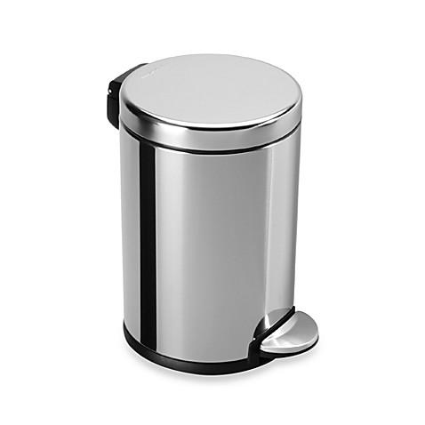 Simplehuman polished stainless steel fingerprint proof 4 for Bathroom wastebasket