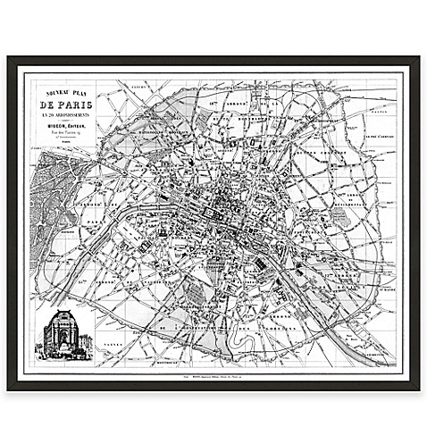 Black And White Paris Map Canvas Wall Art Bed Bath Amp Beyond