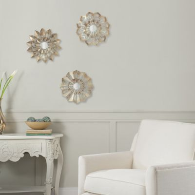 image of Metal Flower Wall Art in Ivory/Gold (Set of 3)