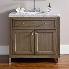image of James Martin Furniture Chicago 36-Inch Single Vanity with Marble Top in Walnut/White