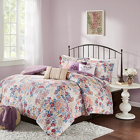 buy madison park bess 7 piece california king comforter set in purple from bed bath beyond. Black Bedroom Furniture Sets. Home Design Ideas