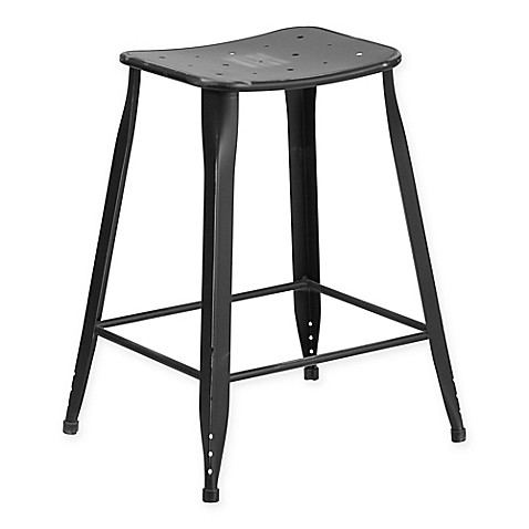 Buy Flash Furniture Backless Distressed Metal Indoor Outdoor Counter Stool In Black From Bed