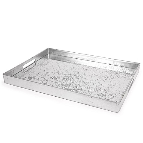 Buy core bamboo decorative serving tray in silver from bed for Decorative bathroom tray