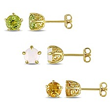 image of Laura Ashley® English Garden Gold-Plated Sterling Silver Round Birthstone Stud Earrings