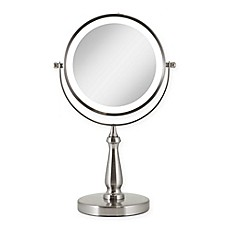 image of Zadro™ Next Generation 1X/8X LED Vanity Mirror in Satin Nickel