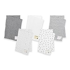 image of Burt's Bees Baby® 5-Pack Organic Cotton Burp Cloths in Grey