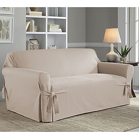 Buy Perfect Fit Relaxed Fit Cotton Duck Loveseat Slipcover In Natural From Bed Bath Beyond