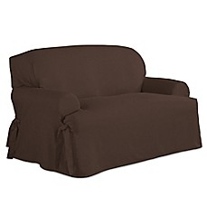 image of perfect fit relaxed fit cotton duck tcushion loveseat slipcover