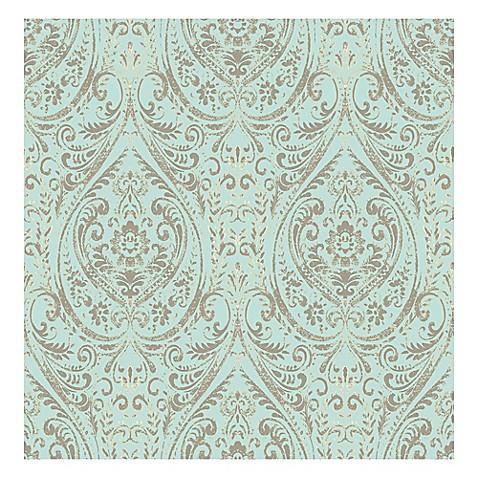Reg Nuwallpaper Trade Nomad Damask L Stick Wallpaper In Turquoise