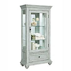 image of pulaski addison curio cabinet in distressed white