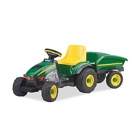 peg perego john deere ride on farm tractor trailer bed. Black Bedroom Furniture Sets. Home Design Ideas