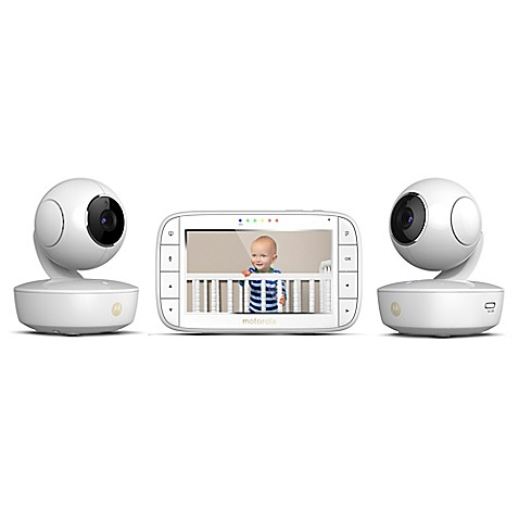 motorola mbp36xl 2 portable 5 video baby monitor with 2 cameras in white bed bath beyond. Black Bedroom Furniture Sets. Home Design Ideas