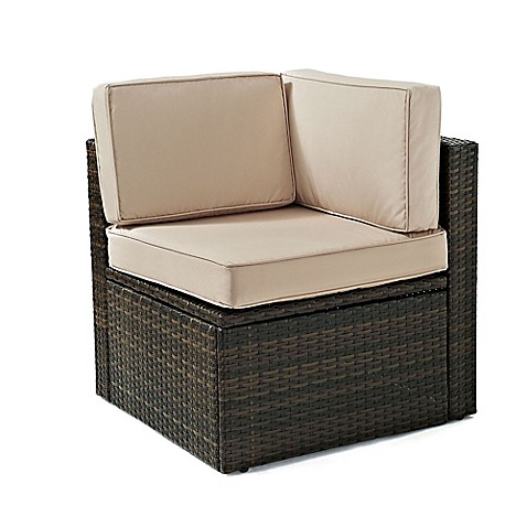 Crosley Palm Harbor All Weather Resin Wicker Corner Chair With Cushions Bed Bath Beyond