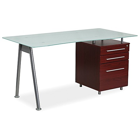 Flash furniture frosted glass computer desk with mahogany three drawer pedestal buybuy baby Frosted glass furniture