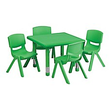 image of Flash Furniture 24-Inch Square Activity Table with 4 Stackable Chairs in Green